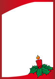 Christmas red frame. Christmas frame with candle, holly berries and leafs in white background stock illustration