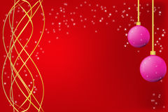 Christmas red  frame. With golden borders, balls and snowflakes Royalty Free Stock Photo