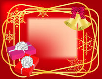 Christmas red  frame. With golden borders, bells, gifts and snowflakes Stock Photo