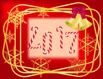 Christmas red  frame. With golden borders,  candies and snowflakes Stock Photography
