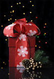 Christmas red gift box Royalty Free Stock Image