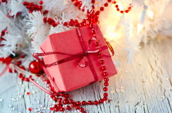 Christmas red gift box Stock Image