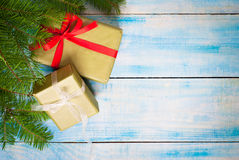 Christmas red gift box Royalty Free Stock Photos