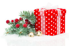 Christmas red gift with branch firtree Royalty Free Stock Photo