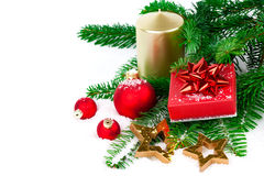 Christmas red gift with festive decorations Stock Photography