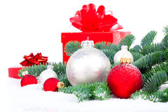 Christmas red gift with festive decorations Royalty Free Stock Image