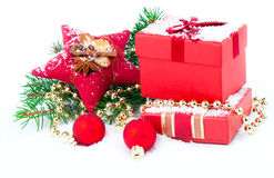 Christmas red gift with festive decorations Royalty Free Stock Photo
