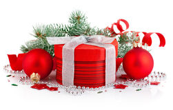 Christmas red gift with firtree branch Stock Photo