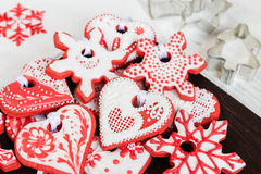 Christmas red gingerbread cookies Royalty Free Stock Photo