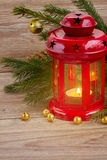 Christmas red glowing  lantern Stock Photography