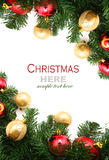 Christmas red and godlen bubbles and Spruce Tree Stock Images