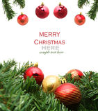 Christmas red and godlen bubbles and Spruce Tree Royalty Free Stock Images