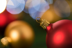 Christmas red and gold balls close-up Royalty Free Stock Image