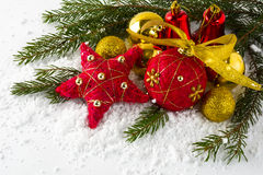 Christmas red and gold balls royalty free stock photo