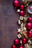 Christmas red and gold Baubles Royalty Free Stock Images