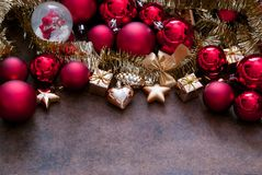Christmas red and gold Baubles Royalty Free Stock Photos