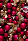 Christmas red and gold Baubles. Christmas decoration Royalty Free Stock Photos