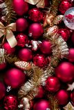 Christmas red and gold Baubles. Christmas decoration Stock Photography