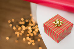 Christmas red and gold gift box Royalty Free Stock Image