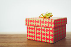 Christmas red and gold gift box Stock Image