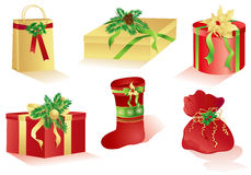 Christmas red and gold gifts Stock Photos