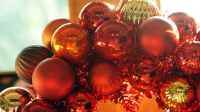 Christmas red and gold ornament background with beautiful sun li Royalty Free Stock Photos
