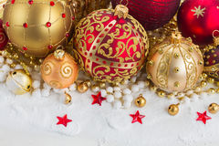 Christmas red and golden heart with evegreen tree Royalty Free Stock Image