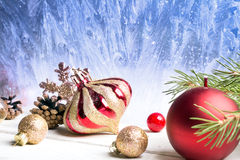 Christmas red and golden ornaments Stock Image