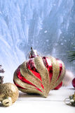 Christmas red and golden ornaments Royalty Free Stock Photos