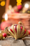 Christmas Red and golden ornaments Stock Photos