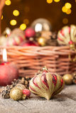 Christmas Red and golden ornaments Royalty Free Stock Photo