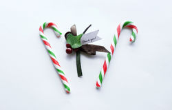 Christmas red and green candy cane with thank you note. On white background Stock Image