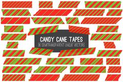 Christmas Red Green Candy Cane Washi Tape Isolated Vector Strips. Different Size Striped Masking Tape Pieces with Torn Edges. 36 Unique Semitransparent Vectors Stock Photography