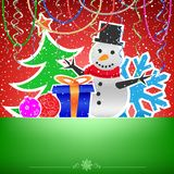 Christmas red green card snow ribbons and bauble Stock Photos