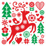 Christmas red and green pattern, Scandinavian folk art, reindeer, birds and flowers decoration or greetings card Royalty Free Stock Photography