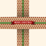 Christmas Red Green Ribbon with Flowers Royalty Free Stock Images