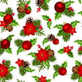 Christmas red and green seamless background. Vector illustration. Royalty Free Stock Image