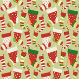 Christmas red and green socks seamless pattern Royalty Free Stock Images