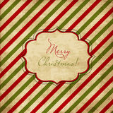 Christmas red and green striped card. Vintage stylized illustration Stock Photography