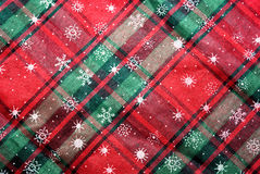 Christmas red and green table cloth background Stock Photo