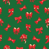 Christmas red and green vector pattern with bows. royalty free stock images