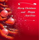 Christmas red greeting card Stock Photo