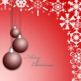 Christmas red greeting card or postcard with balls and snowflakes Royalty Free Stock Photos