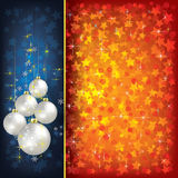 Christmas red greeting with decorations Stock Image