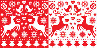 Christmas red greetings card pattern with reindeer - folk art style. Retro style red Xmas or winter pattern - cute, happy background Royalty Free Stock Photos