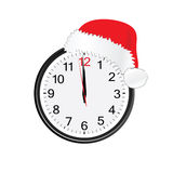 Christmas red hat on clock royalty free illustration