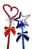 Christmas red heart and blue star. With ribbons on sticks royalty free stock photos