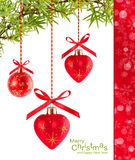 Christmas Red Heart-shaped Balloons Royalty Free Stock Photography