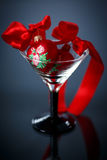 Christmas red hearts in a glass Royalty Free Stock Photography