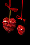 Christmas red hearts hanging Stock Image